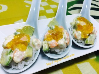 Shrimp with Avocado, Lemon, Mayo and Consomme Jelly SpoonSushi!2
