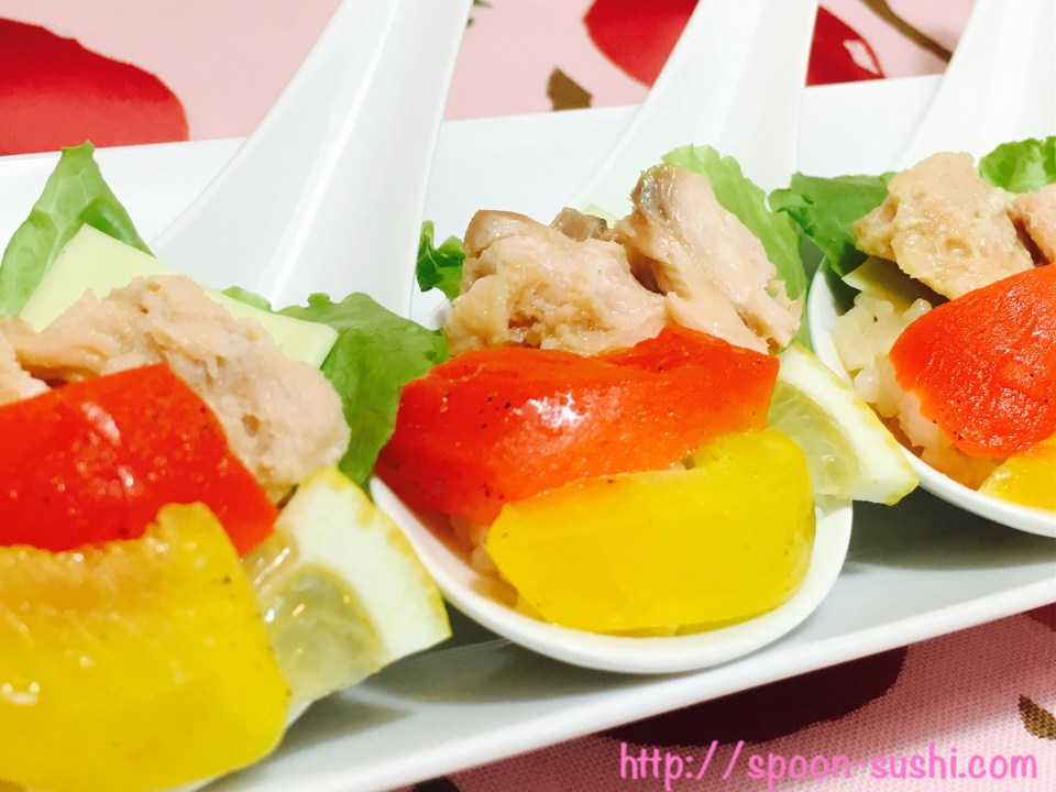 Bell Peppers with Canned Salmon, Cheese, Lemon and Lettuce SpoonSushi!6
