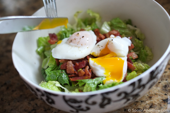 Cutting the Poached Egg on the Salad