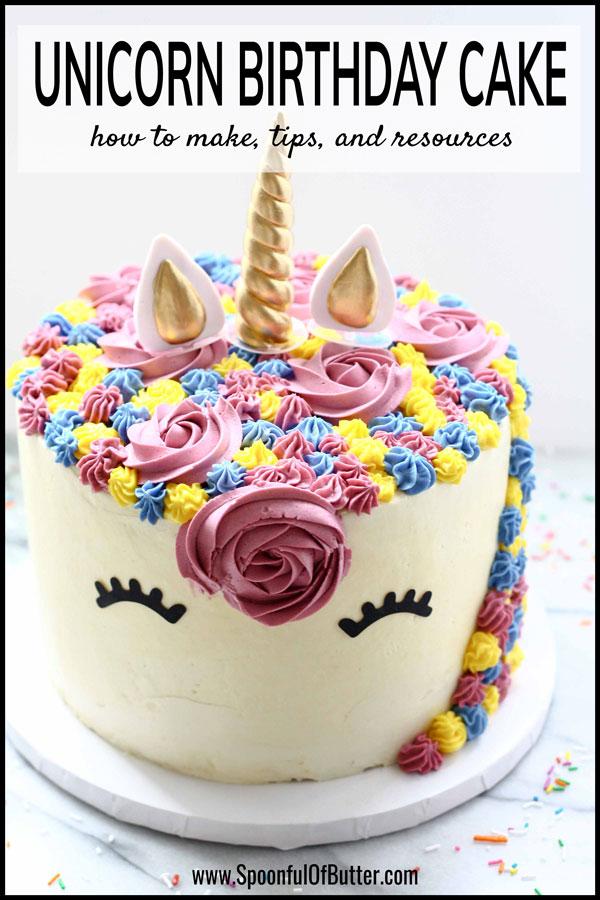 Strange A Unicorn Birthday Cake Spoonful Of Butter Birthday Cards Printable Inklcafe Filternl