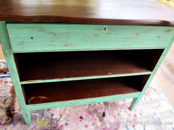staining dresser shelves