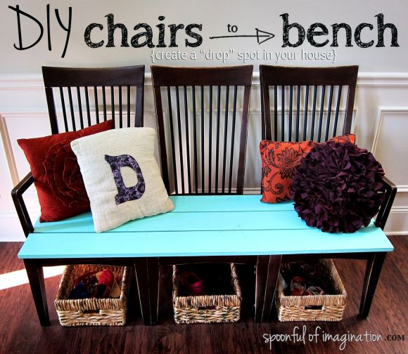 DIY chairs to bench makeover