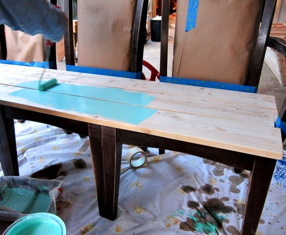 painting a wood bench
