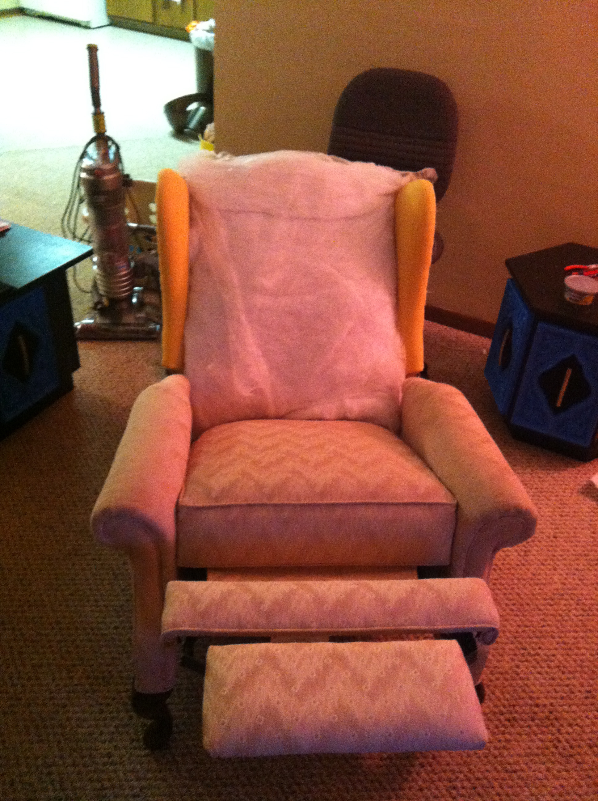 Reupholstered Reclining Wingback Chair  spoonfulofjemily