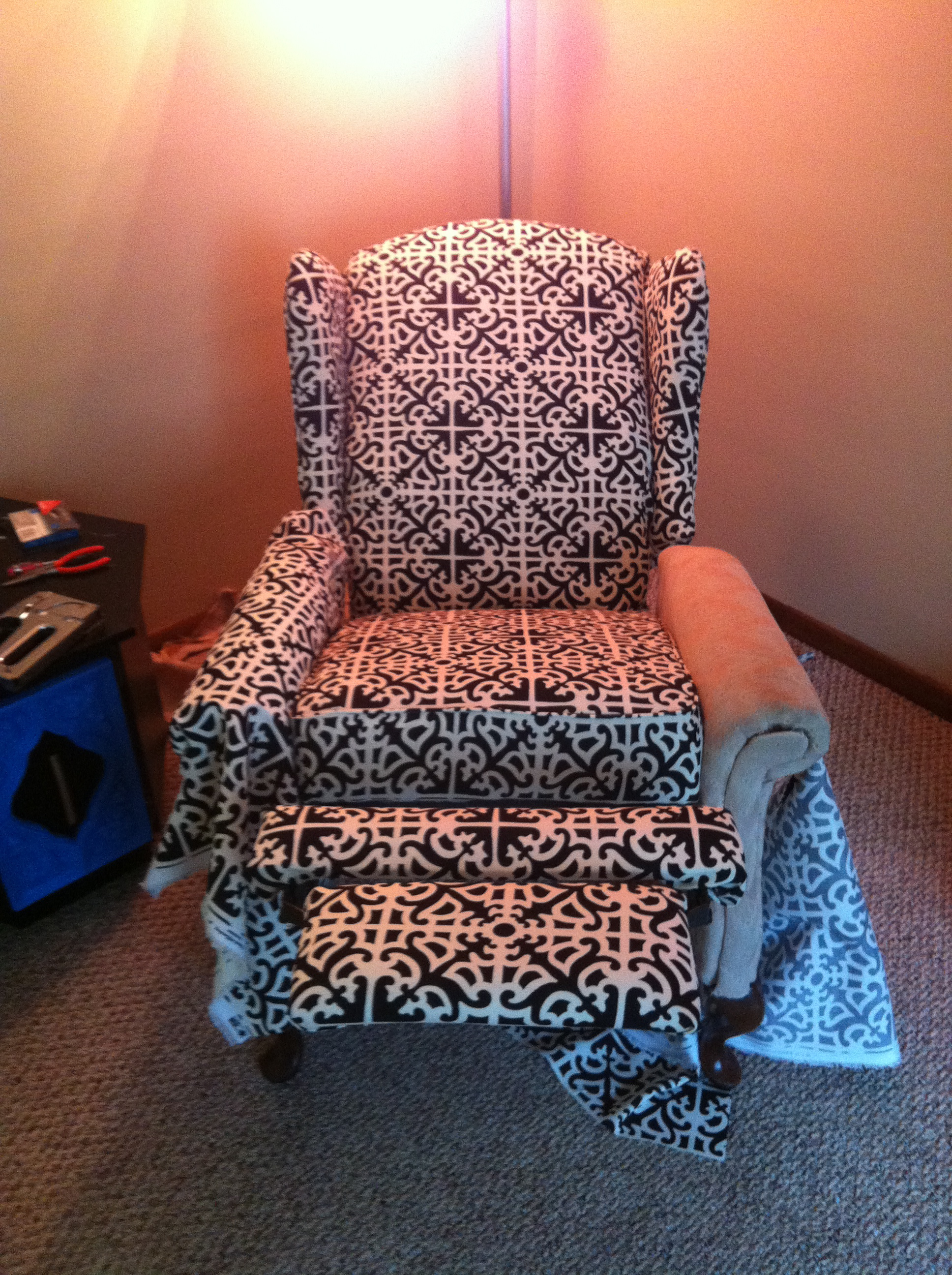 how much fabric do i need to reupholster a chair fishing exercises reupholstered reclining wingback  spoonfulofjemily