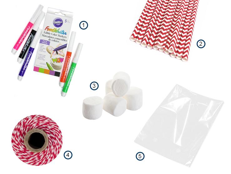 Marshmallow Snowman pop materials