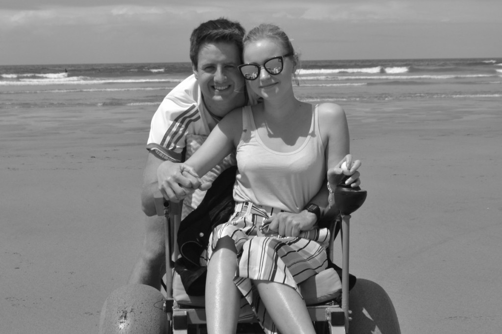 Motorised beach wheelchair with boyfriend