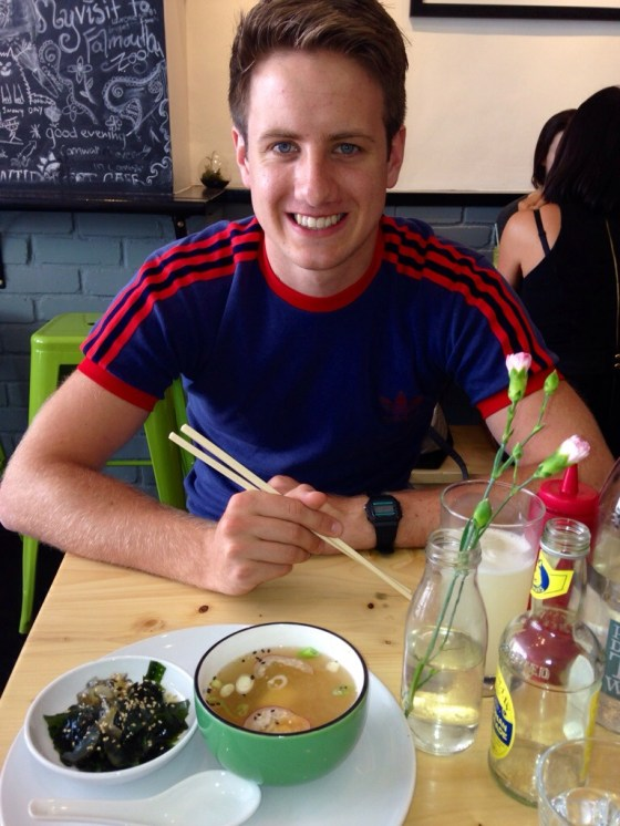 Paddy enjoying miso soup