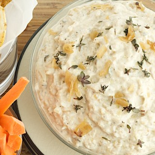 Caramelized Onion Dip with Salt and Cracked Pepper Potato Chips