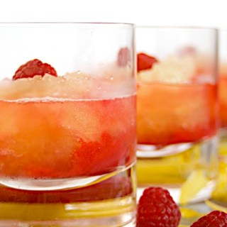 Limoncello Granita with Fresh Raspberry Sauce