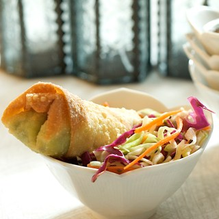 Avocado Eggrolls with Gingery Asian Slaw and Sweet Chile-Lime Dipping Sauce