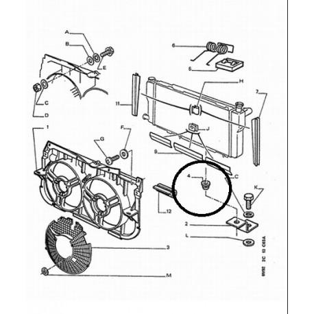Genuine OE Peugeot 205 radiator lower mount rubber (1