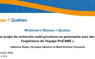 """PriCARE Webinar: """"Mener un projet de recherche multi-provinces en partenariat avec des patients, l'expérience de l'équipe PriCARE"""""""