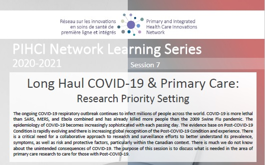 PIHCI Network Learning Series 7_Long Haul COVID-19 & Primary Care: Research Priority Setting