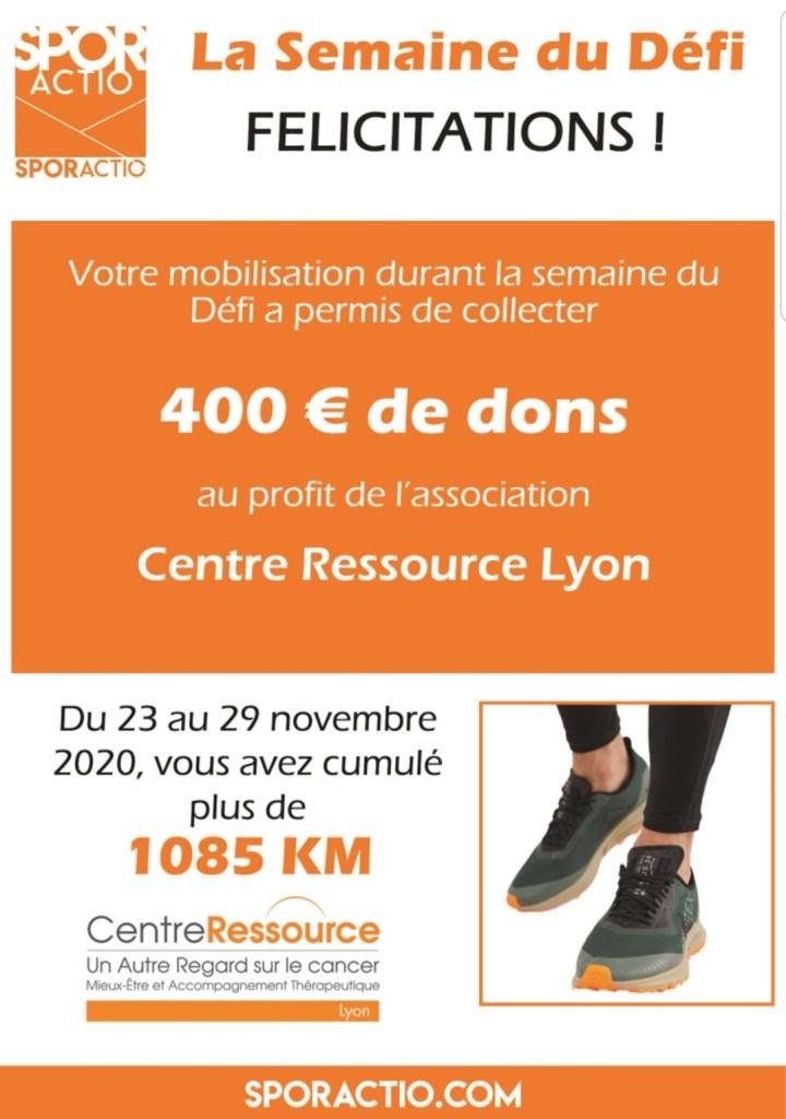 La semaine du défi - Sporactio - Marcher contre le cancer - Centre Ressource Lyon - Activité Physique Adaptée