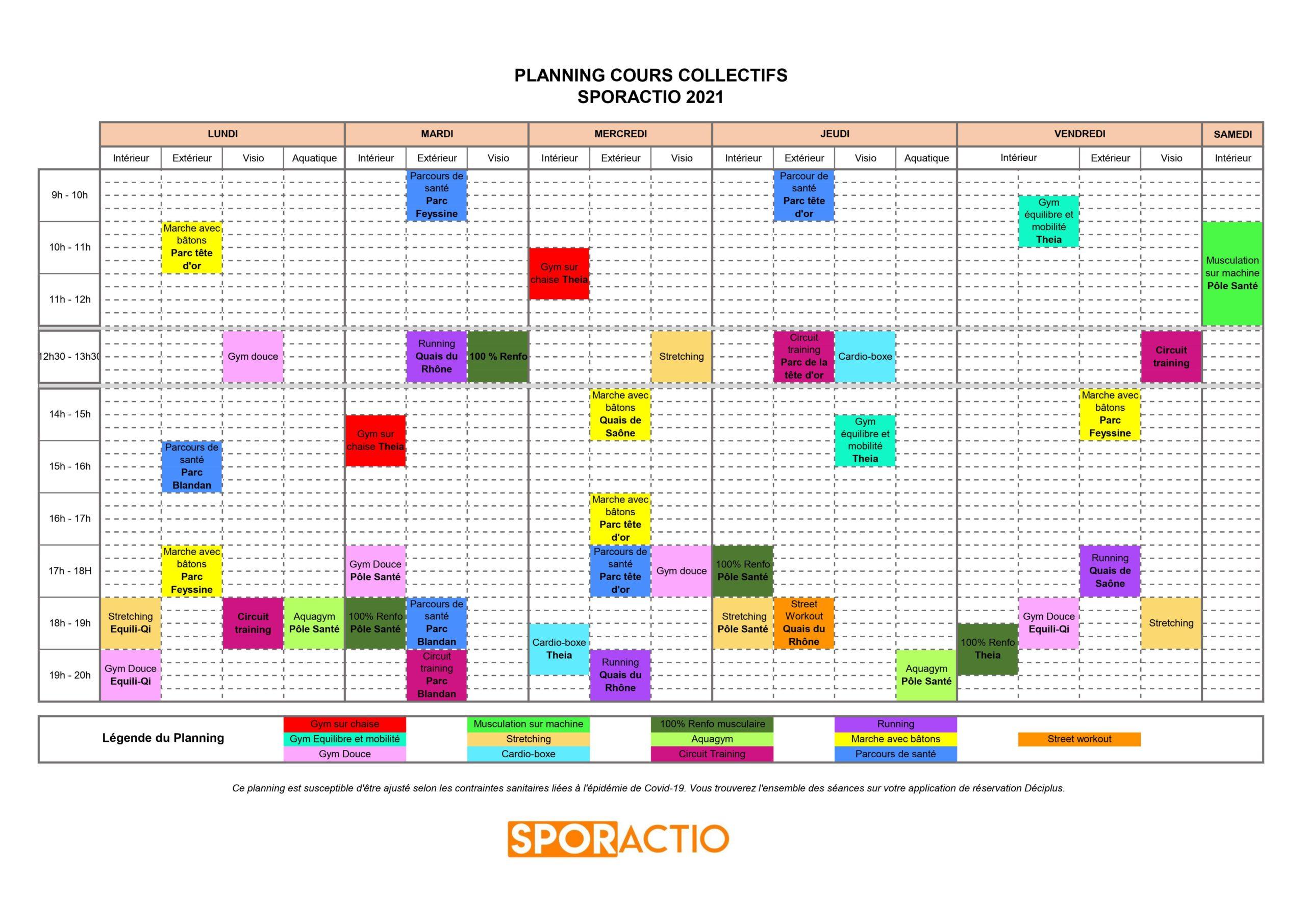 Planning Activité Physique Adaptée - Sporactio - Lyon APA