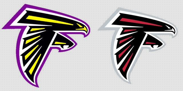 On the left the log for the Elmira (OR) Falcons and on the right the logo for the NFL's Atlanta Falcons