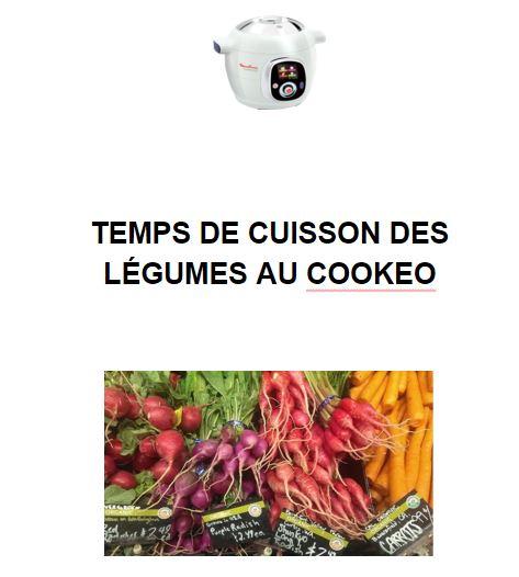 TEMPS DE CUISSON DES LEGUMES AU COOKEO