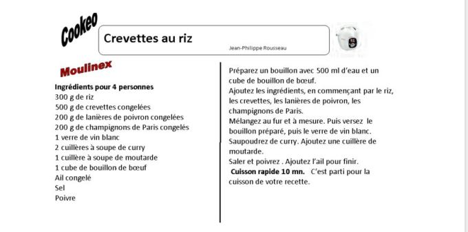 fiche crevettes CREVETTES AU RIZ cookeo