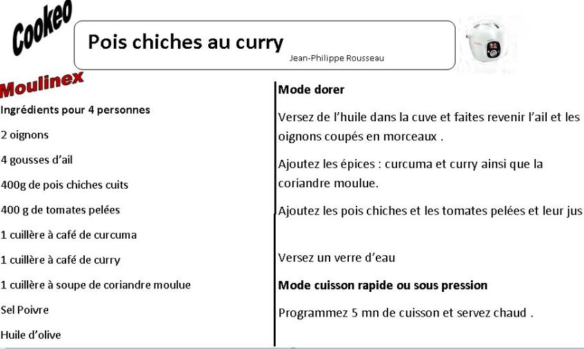 pois chiches curry cookeo