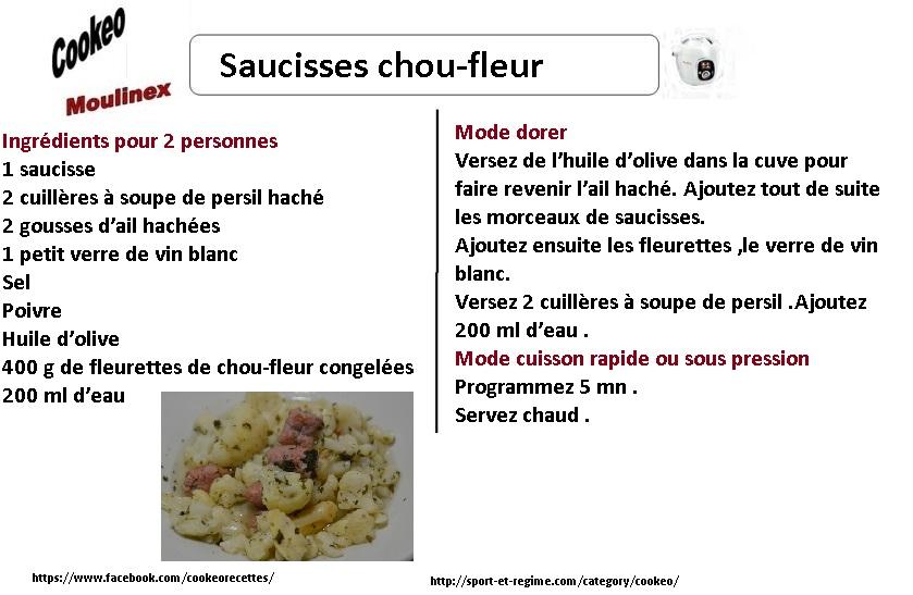 saucisses chou-fleur cookeo