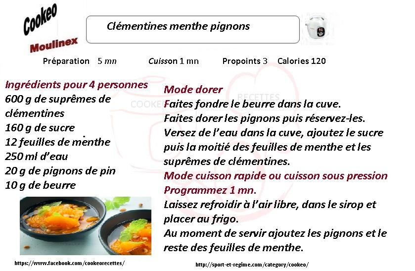 Recette cookeo diététique clémentines aux pignons