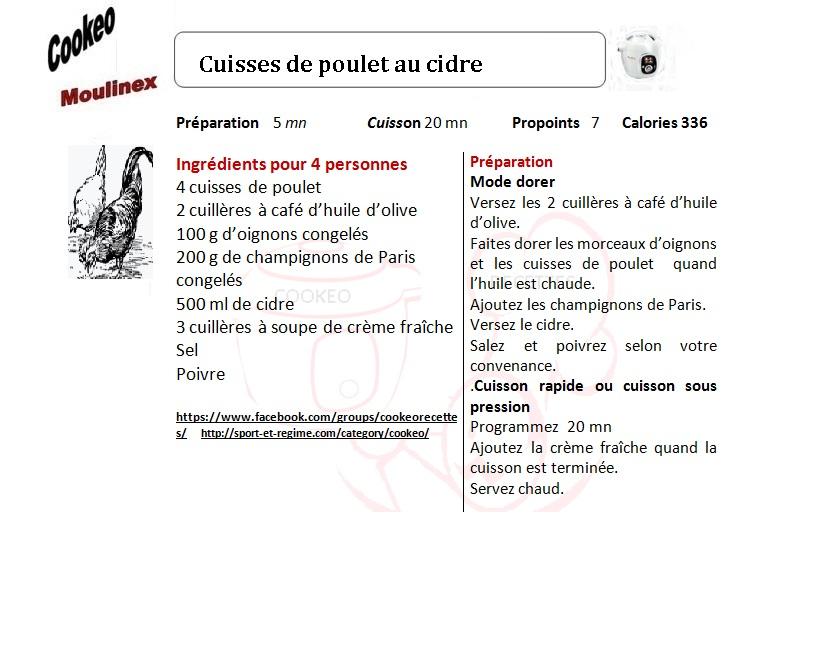 Fiche Recette Cookeo Cuisses De Poulet Au Cidre