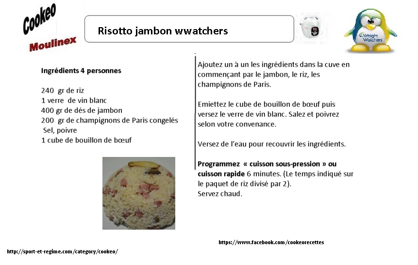 Fiche Recette cookeo  risotto jambon weight watchers