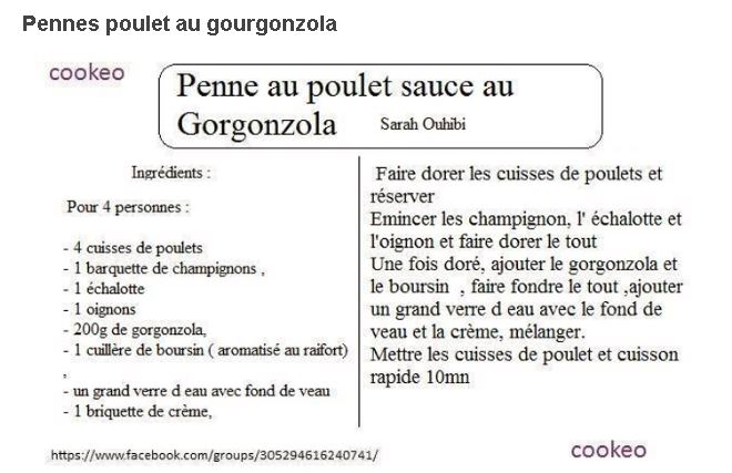 pennes gourgonzola cookeo