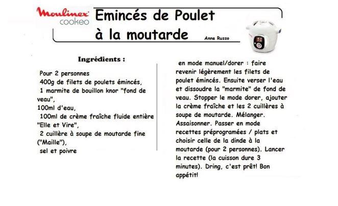 10 Fiches De Recettes Cookeo Eminces De Poulet Ou De Dinde