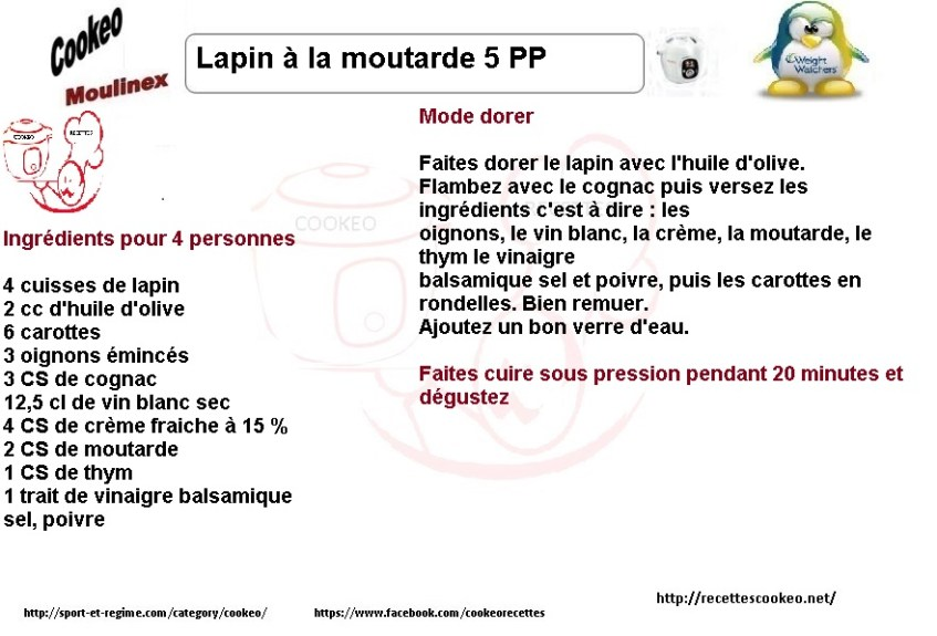 Fiche cookeo lapin moutarde weight watchers