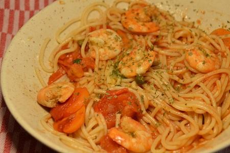 Spaghettis crevettes coco cookeo