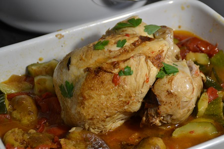 Poulet entier tomates figues courgettes cookeo