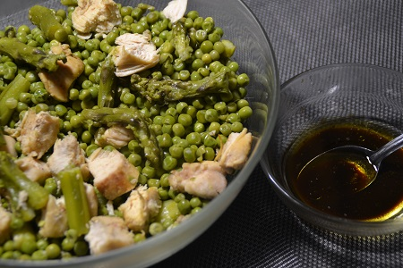 Salade petits pois asperges poulet cookeo