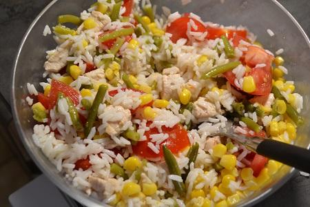Salade riz poulet haricots au cookeo