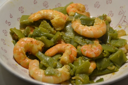 Haricots plats crevettes recette cookeo