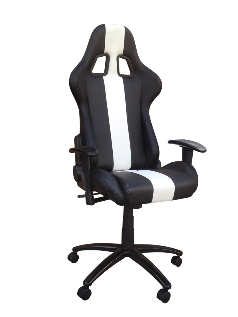Racing Seat Office Chair Black And White Adjustable Racing Seat Office Chair With Metal Frame