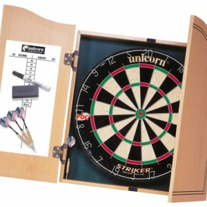 Unicorn dartbord Strike Home Center 45 cm hout naturel 7 delig