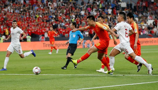 Luke Woodland (no6) in action against China at January 2019's Asian Cup (EPA).
