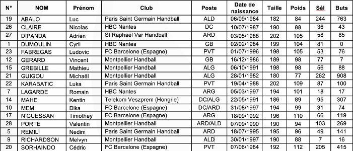 Handball WM 2019 - WM-Kader Frankreich - Foto: FFHandball