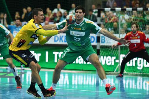 Andy Schmid und Marko Mamic - SC DHfK Leipzig vs. Rhein-Neckar Löwen - Handball Bundesliga am 14.11.2019 - Foto: Rainer Justen