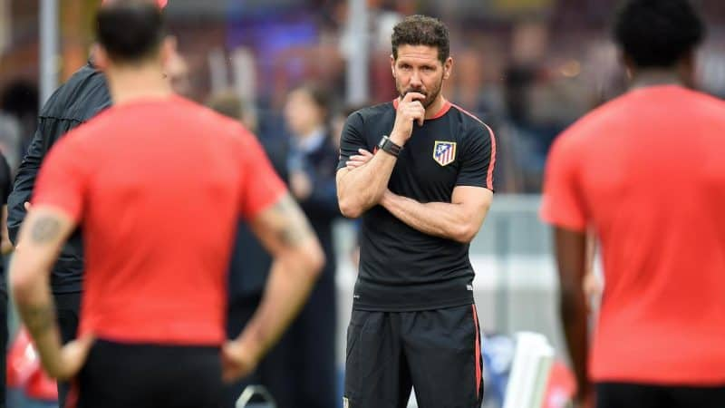 Atletico Madrid's Argentinian head coach Diego Simeone reacts during his team's training session at the Giuseppe Meazza Stadium in Milan, Italy, 27 May 2016. Atletico Madrid will face Real Madrid in the UEFA Champions League Final on 28 May 2016 in Milan. Ansa/Daniel Dal Zennaro (ANSA via AP)