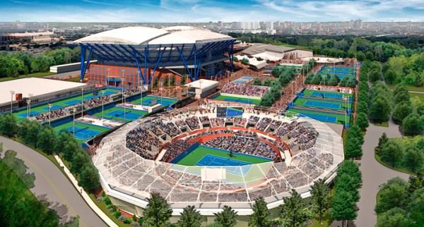 Visuel du nouveau GrandStand, au premier plan et du Arthur Ashe Stadium, au second plan (Crédits - US Open / Cabinet Rossetti)