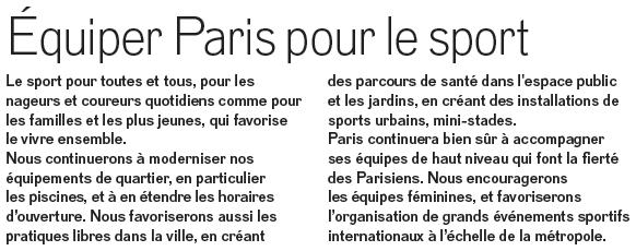 équiper Paris pour le sport - Anne Hidalgo