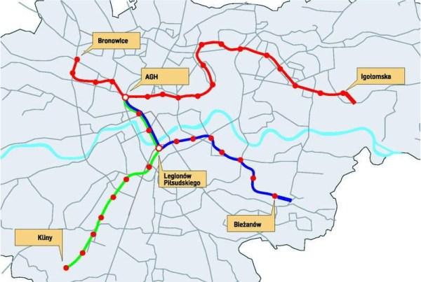 Lignes de métro - Cracovie