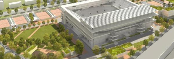 Vue aérienne du nouveau toit - Roland Garros