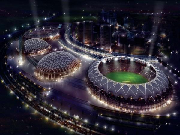 Dubaï Sports City - vue nocturne