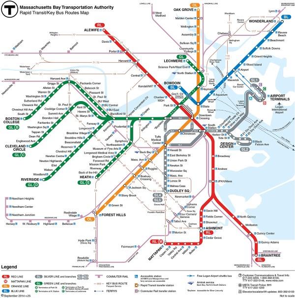 Boston - carte du métro