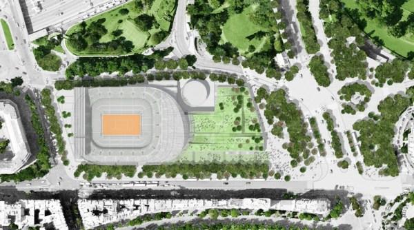 Vue du projet d'aménagement d'un Court de 15 000 places sur le site du Stade Georges Hébert dans le XVIe arrondissement de Paris (Crédits - Marc Mimram)
