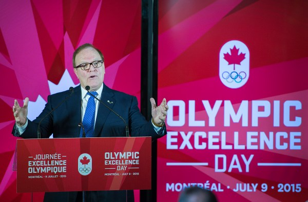 Marcel Aubut, President, Canadian Olympic Committee speaks during the Olympic Excellence Day launch in Montreal, Thursday, May 7, 2015 // Marcel Aubut, président, Comité olympique canadien, prend la parole lors de l'annonce de la Journée Excellence olympique à Montréal, le jeudi 7 mai 2015. .